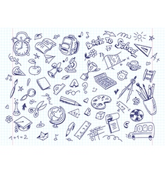 Back to school drawing background on copy book vector image