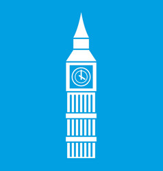 Big ben clock icon white vector