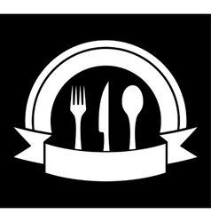 black food icon for restaurant vector image