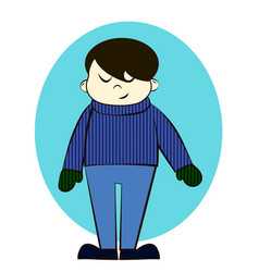 Boy in winter clothes cartoon vector