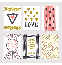 Collection of hand drawn romantic cards and vector image