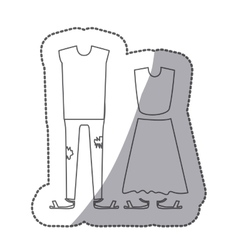 Contour with pair clothing pijamas vector