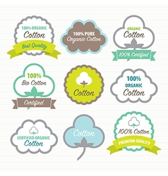 Cotton certificates labels set vector image vector image