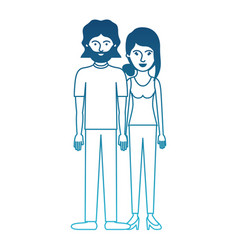 Couple in degraded blue silhouette and both with t vector