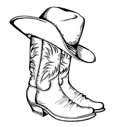 Cowboy boots and hat graphic isolated vector