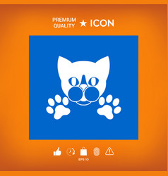 Cut cat with paws - logo symbol protect sign vector