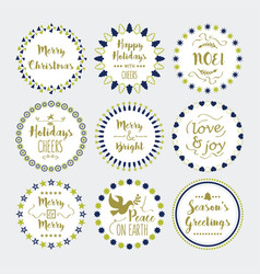 cute christmas and holiday wishes wreath icons set vector image