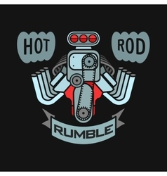 engine hot rod muscle car speedster logo t-shirt vector image vector image