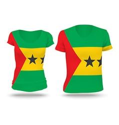 Flag shirt design of sao tome and principe vector
