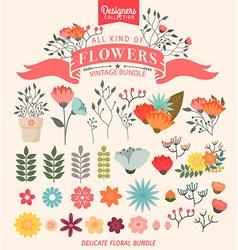 Floral Bundle Icon Set vector image vector image