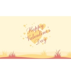 Happy valentine day with hill landscape vector