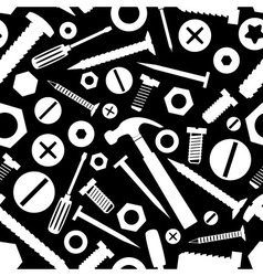 Hardware screws and nails with tools black vector