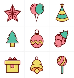 Icons Style Christmas Icons Set Design vector image vector image