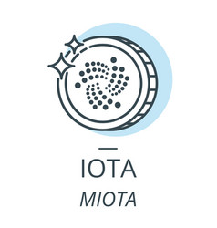 iota cryptocurrency coin line icon of virtual vector image vector image