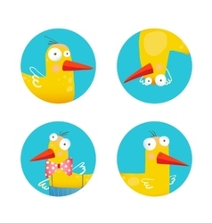 Kids Duck Funny Icons Set vector image vector image