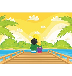 Kids sitting on pier vector
