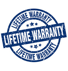 Lifetime warranty blue round grunge stamp vector