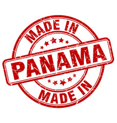 Made in panama red grunge round stamp vector