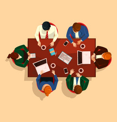 people at table business team meeting vector image