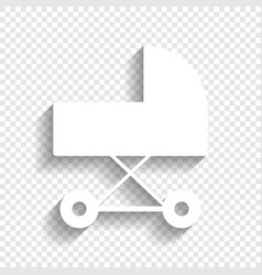 Pram sign white icon with vector