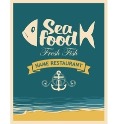 Retro banner for seafood restaurant vector