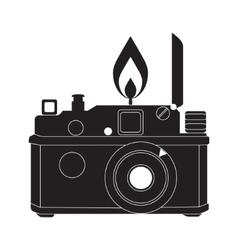 Retro camera in black and white vector image