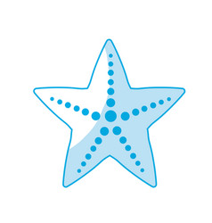 Silhouette beauty starfish animal that live in the vector