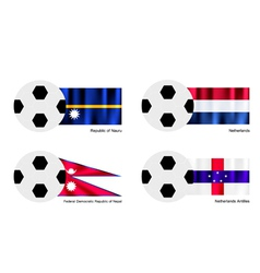 Soccer Ball with Nauru Netherlands Nepal Flag vector image