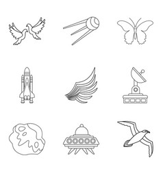 Takeoff icons set outline style vector
