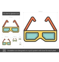 Three d cinema glasses line icon vector