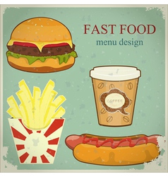 vintage fast food menu vector image