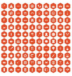 100 sushi bar icons hexagon orange vector