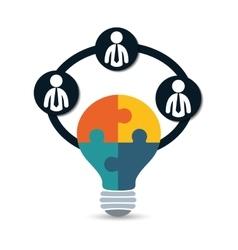 Pictogram bulb puzzle teamwork support design vector