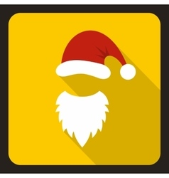 Red hat and white beard of santa claus icon vector