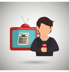 Reporter tv news microphone vector