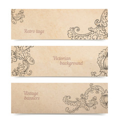 Vintage old paper texture background with set of vector
