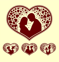 Silhouettes of young people with heart retro set vector