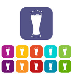 Glass of beer icons set vector