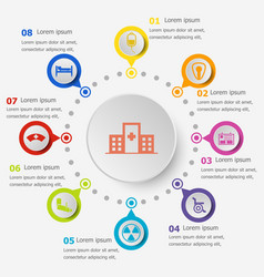 Infographic template with hospital icons vector