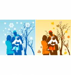 family graphic vector image