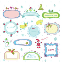 Doodle christmas frames vector