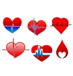 Cardigram on red hearts icons set vector