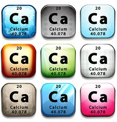 A button showing the chemical element calcium vector