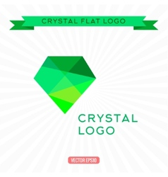 Logo green gem icon bright gemstone vector