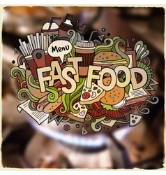 Fastfood hand lettering and doodles elements vector