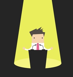 Businessman behind a podium with microphones vector