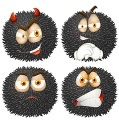 Facial expression on fluffy ball vector
