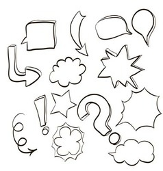 Set of clouds conversations characters and various vector