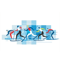 Cross country skiers vector
