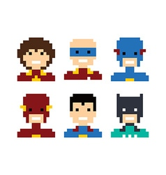 Pixel people superhero avatar set vector